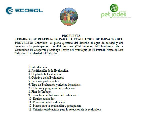 Términos de Referencia para la Evaluación de impacto del Proyecto de Cooperación Internacional